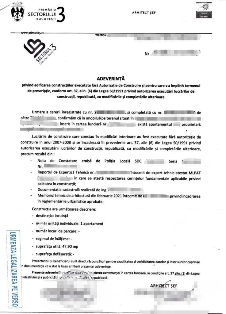 Certificat de atestare a edificarii